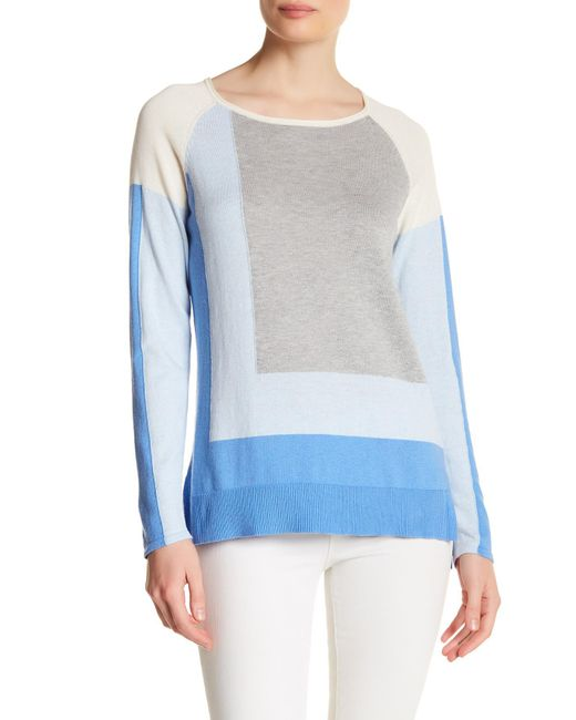 In Cashmere   Blue Colorblock Hi-lo Sweater   Lyst