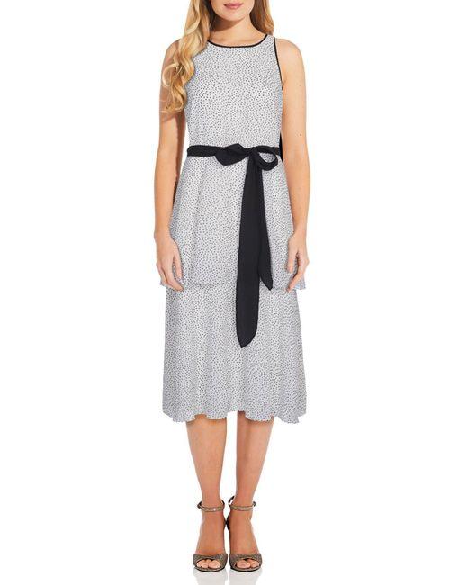 Adrianna Papell Gray Polka Dot Waist Tie Tiered Dress