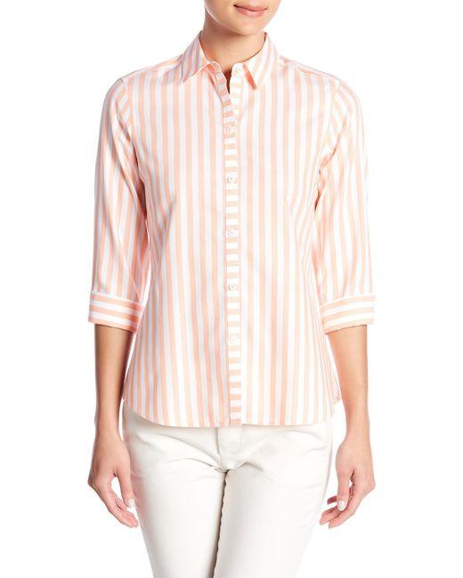 Foxcroft - Pink Ava Striped Shirt - Lyst