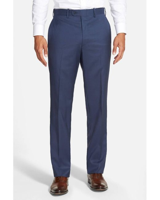 JB Britches - Blue 'torino' Flat Front Wool Trousers for Men - Lyst