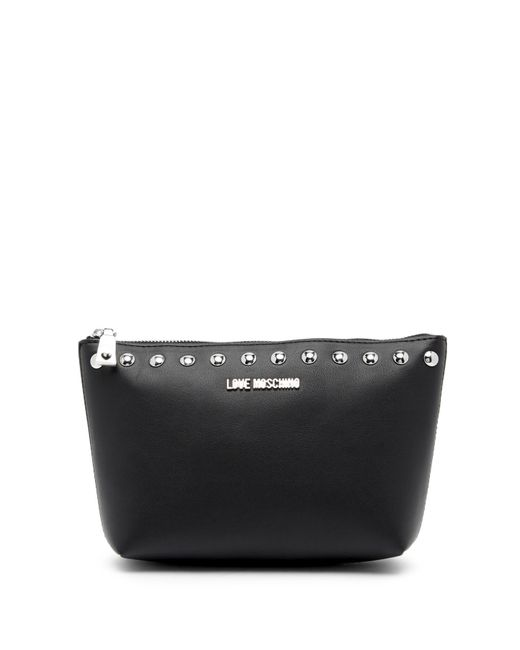 Love Moschino - Black Studded Zip Pouch - Lyst