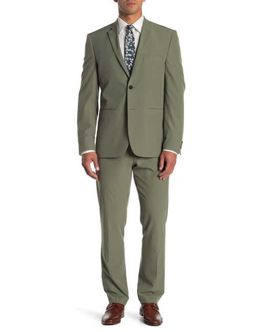 Perry Ellis Green Solid Very Slim Fit Performance Tech 2-piece Suit for men