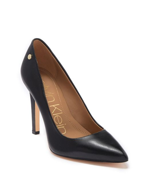 b18fe06589 Calvin Klein - Black Brady Leather Pointed Toe Pump - Wide Width Available  - Lyst ...