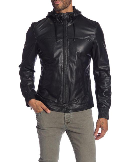 Lamarque - Black Leather Moto Hoodie for Men - Lyst