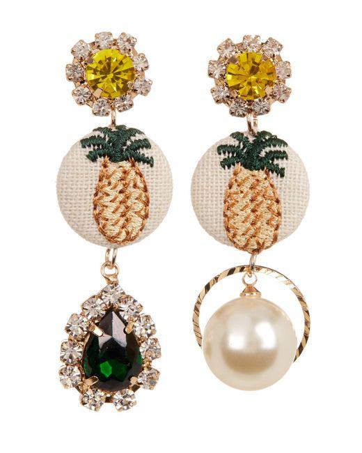 Cara - Multicolor Rhinestone Mismatched Pineapple Dangle Earrings - Lyst