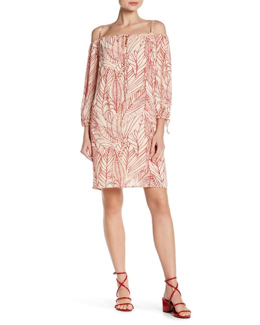 Velvet By Graham & Spencer - Pink Off-the-shoulder Gauze Shift Dress - Lyst