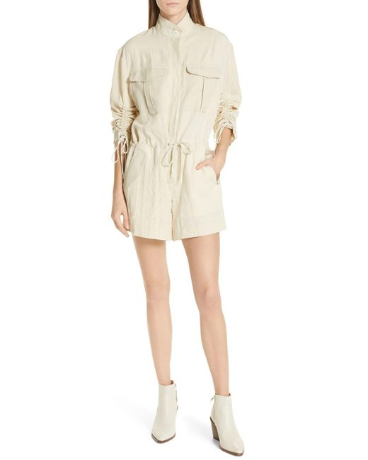New $165 7 For All Mankind Women/'s Shirtall Short Romper Army Green Cotton XS
