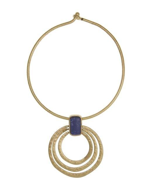 The Sak Metallic Lapis Stone Multi Ring Pendant Coil Necklace