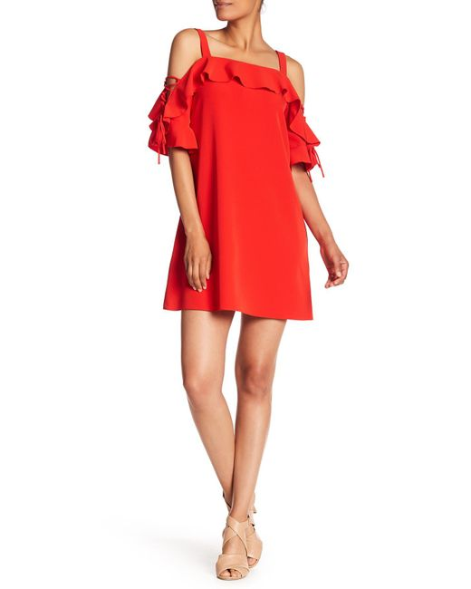 Laundry by Shelli Segal - Red Ruffled Cold Shoulder Shift Dress - Lyst