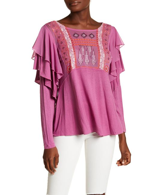 Free People | Purple Lacienega Front Embroidery Blouse | Lyst
