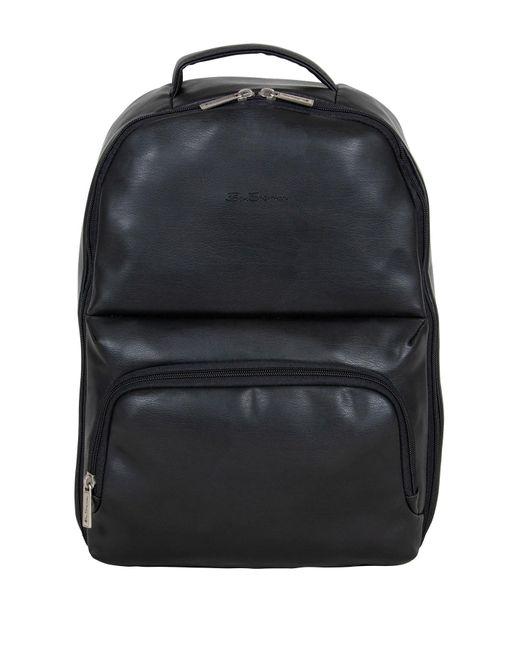 Ben Sherman Black Faux Leather Backpack for men