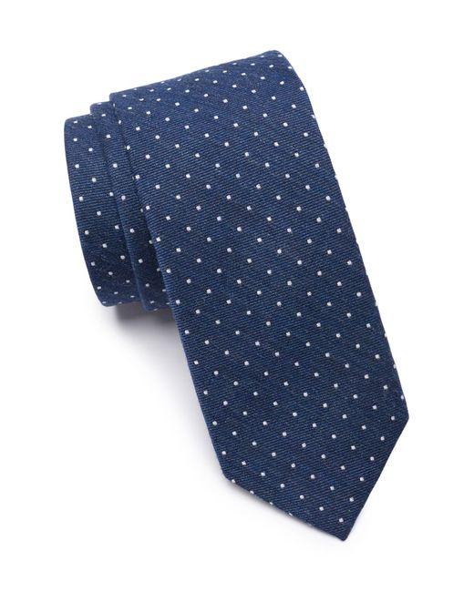 Original Penguin Blue Miller Dot Silk Blend Tie for men