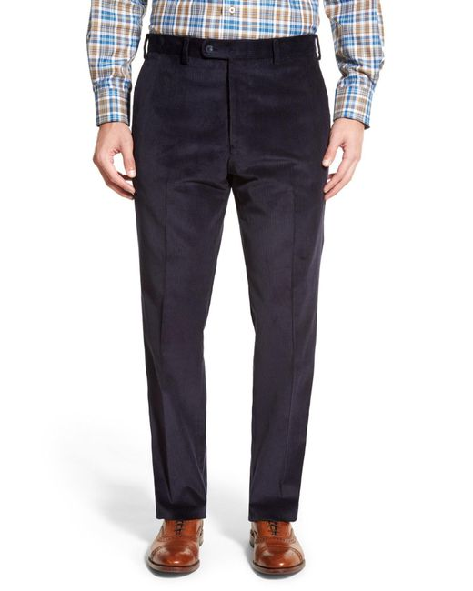 JB Britches | Blue Flat Front Corduroy Trousers for Men | Lyst