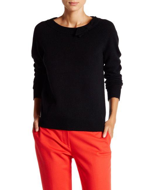 Kate Spade | Black Tab Bow Wool Sweater | Lyst