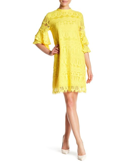 Sharagano - Yellow Mock Neck Day Or Night Dress - Lyst