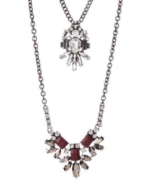 ABS By Allen Schwartz | Metallic Double Row Stone Pendant Necklace | Lyst