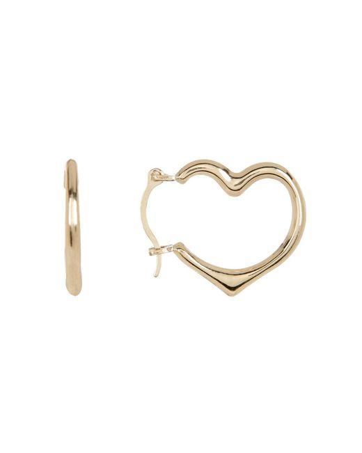 KARAT RUSH | 10k Yellow Gold Open Heart Hoop Earrings | Lyst