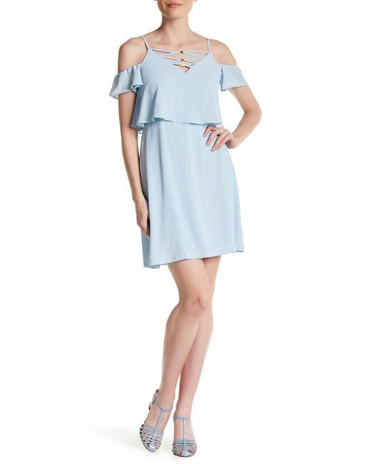 Jessica Simpson | Blue Cold Shoulder Crisscross Dress | Lyst