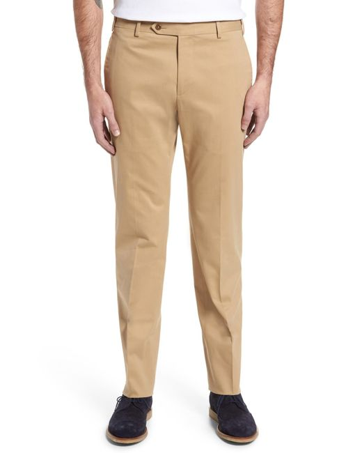 Zanella - Natural Parker Flat Front Solid Stretch Cotton Trousers for Men - Lyst