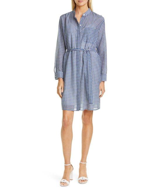 Equipment Blue Ravena Print Long Sleeve Silk Blend Shirtdress