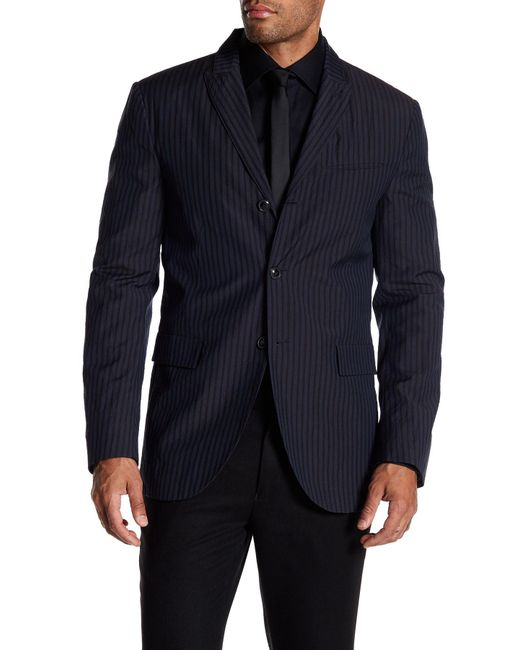 John Varvatos   Blue Convertible Wool Striped Peak Lapel Jacket for Men   Lyst
