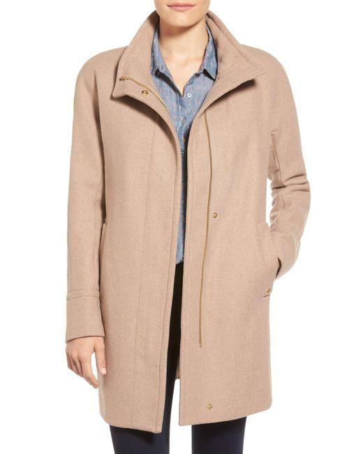 Ellen Tracy | Natural Wool Blend Stadium Coat (regular & Petite) | Lyst