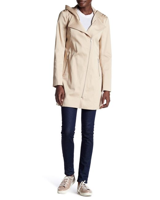 SOIA & KYO | Natural Asymmetric Zip Hooded Raincoat | Lyst