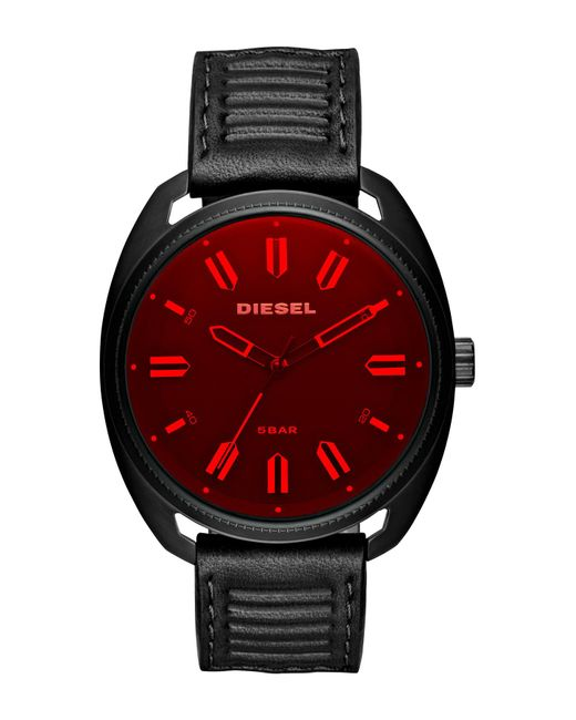 DIESEL - Multicolor Men's Fastbak Black Ip And Leather 3-hand Watch, 45mm X 51mm for Men - Lyst