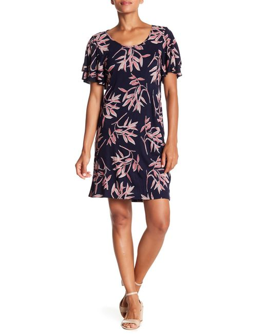 Lucky Brand - Multicolor Printed Ruffle Sleeve Dress - Lyst