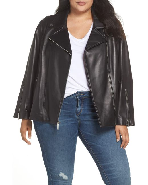 MICHAEL Michael Kors - Black Classic Leather Moto Jacket (plus Size) - Lyst