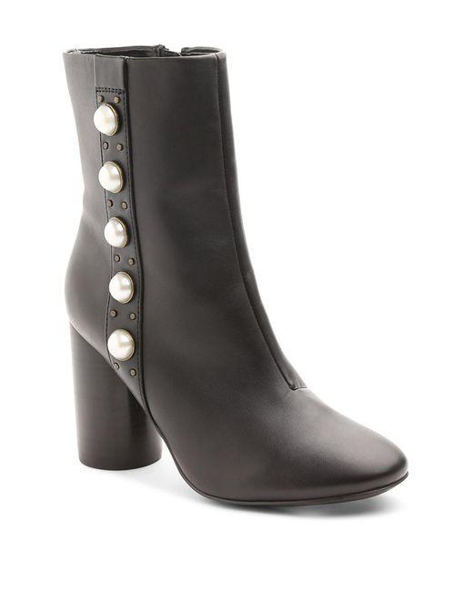 Kensie | Black Lizzy Faux Pearl Round Heel Bootie | Lyst