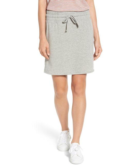 Caslon - Gray (r) Off-duty Tie Waist Miniskirt - Lyst