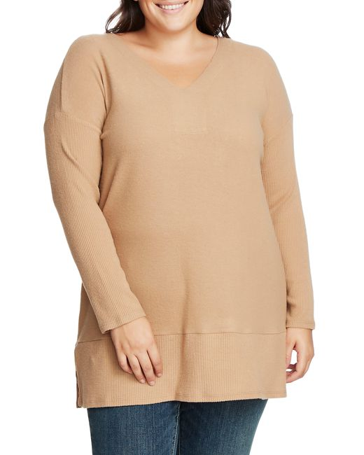 Vince Camuto Natural Ribbed Sleeve V-neck Tunic Sweater