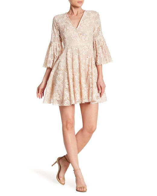 Haute Rogue - Natural Bell Sleeve Lace Mini Dress - Lyst