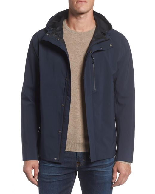 Andrew Marc - Blue Stratus Waterproof Hooded Rain Jacket for Men - Lyst