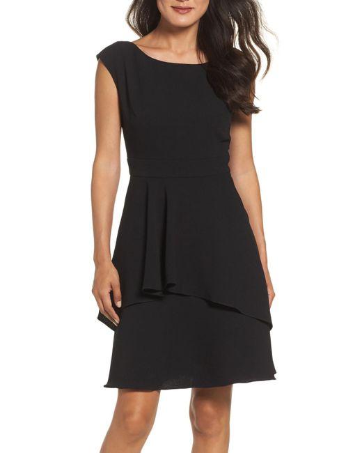 Eliza J - Black Ruffle Fit & Flare Dress - Lyst