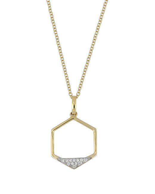 Bony Levy - Metallic 18k Yellow Gold Diamond Hexagon Pendant Necklace - 0.04 Ctw - Lyst