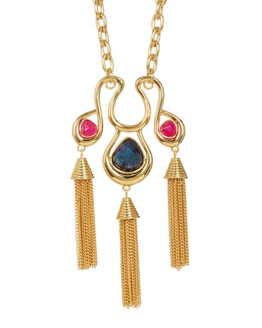 Trina Turk - Metallic Semi-precious Stone Tassel Pendant Necklace - Lyst