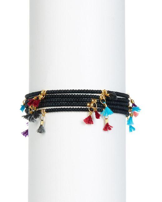 Shashi - Multicolor Leanna Tassel Accent Bead Bracelet - Set Of 5 - Lyst