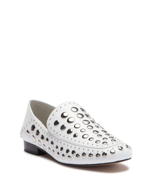 1.STATE - White Flintia Leather Studded Loafer - Lyst