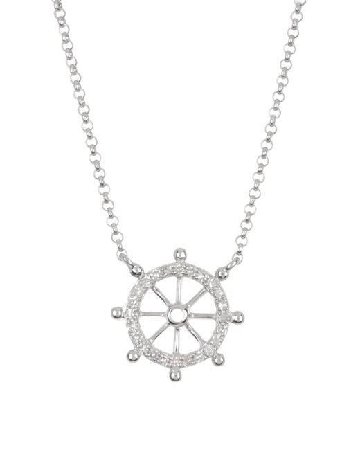 Effy Metallic 14k White Gold Diamond Nautical Necklace - 0.08 Ctw