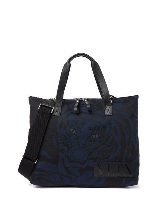 Valentino Black Tiger Print Tote Bag In Nero At Nordstrom Rack