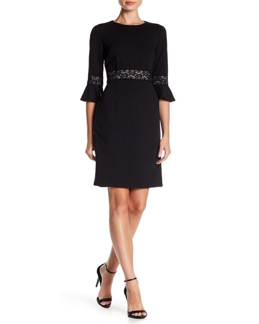 Donna Morgan | Black Lace Accent Bell Sleeve Shift Dress | Lyst