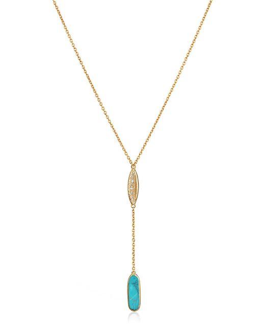 Melinda Maria - Metallic Sienna Bezel Set Turquoise Y-drop Necklace - Lyst