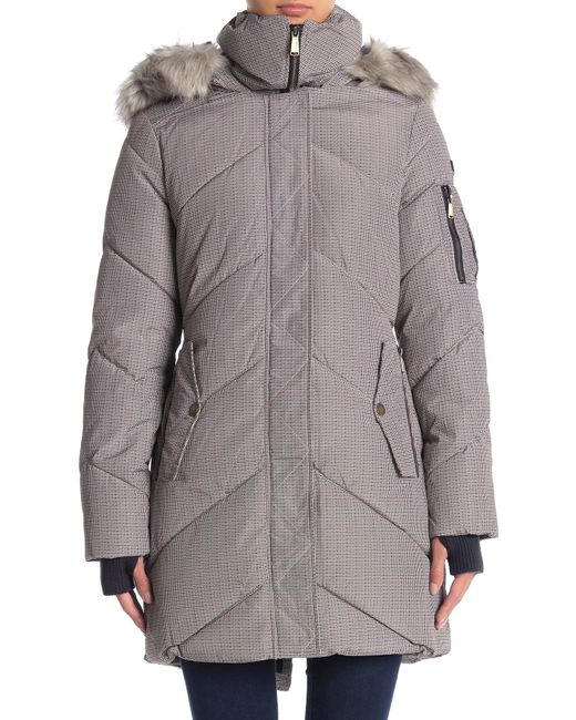 Faux Puffer Fur Gray Jacket Women's Trim Houndstooth Hooded ilPwOXZkTu