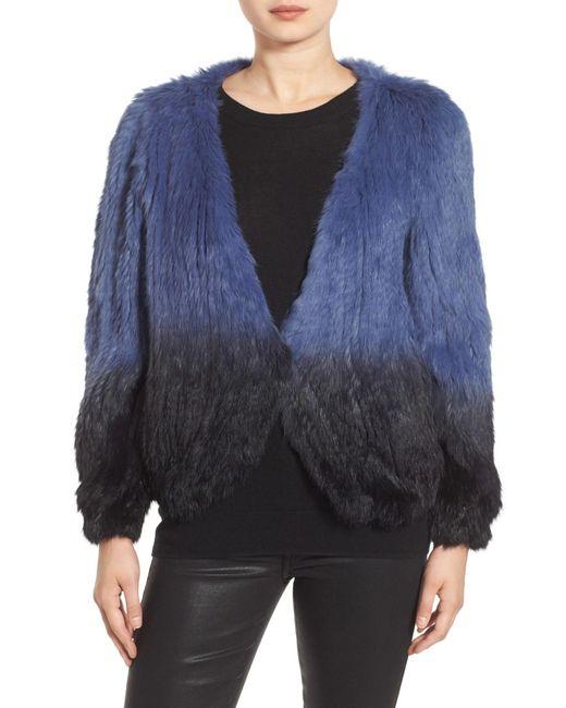 La Fiorentina | Blue Genuine Rabbit Fur Ombre Jacket | Lyst