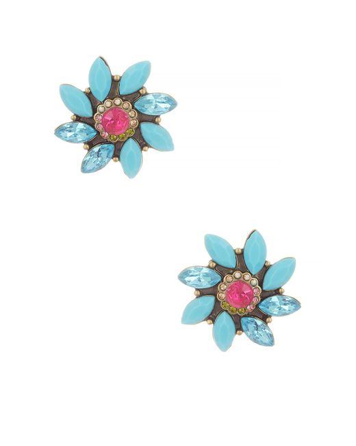 Betsey Johnson | Blue Turquoise Flower Stud Earrings | Lyst