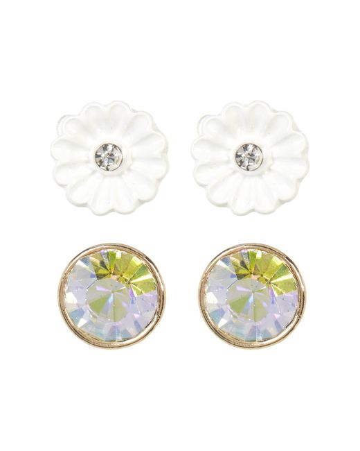 Betsey Johnson   White Floral & Rhinestone Duo Stud Earrings   Lyst