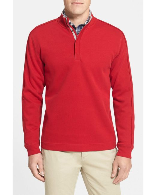 Cutter & Buck | Red 'fulltime' Pima Cotton Pullover (big & Tall) for Men | Lyst