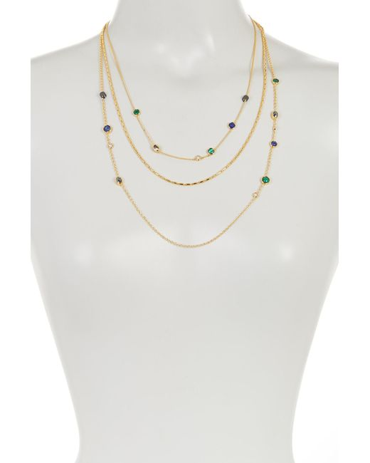 Botkier | Metallic Triple Layer Stone Accented Mix Chain Necklace | Lyst